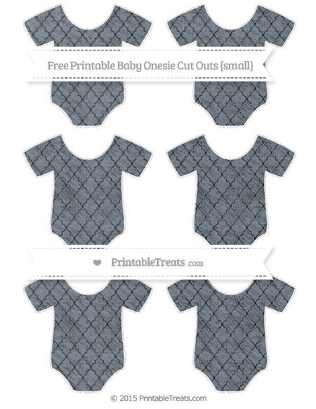 Free Slate Grey Moroccan Tile Chalk Style Small Baby Onesie Cut Outs