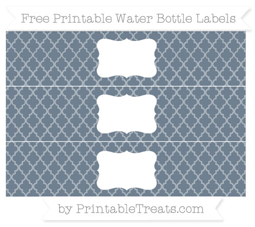 Free Slate Grey Moroccan Tile Water Bottle Labels
