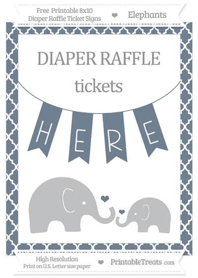 Free Slate Grey Moroccan Tile Elephant 8x10 Diaper Raffle Ticket Sign