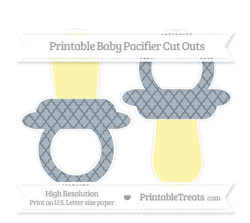 Free Slate Grey Moroccan Tile Large Baby Pacifier Cut Outs