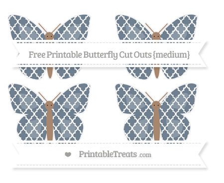 Free Slate Grey Moroccan Tile Medium Butterfly Cut Outs