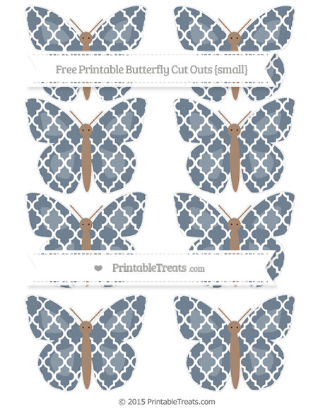 Free Slate Grey Moroccan Tile Small Butterfly Cut Outs