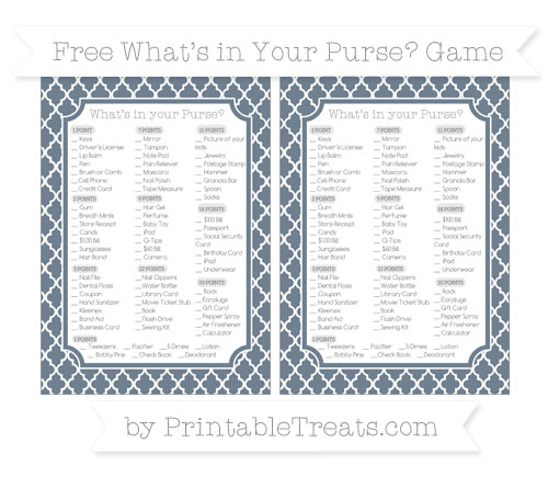 Free Slate Grey Moroccan Tile What's in Your Purse Baby Shower Game