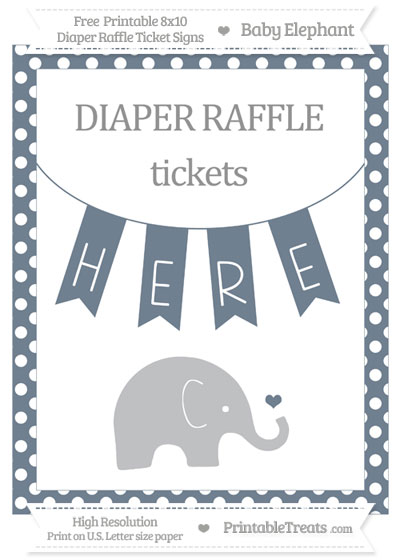 Free Slate Grey Polka Dot Baby Elephant 8x10 Diaper Raffle Ticket Sign