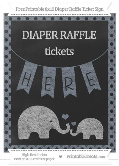 Free Slate Grey Polka Dot Chalk Style Elephant 8x10 Diaper Raffle Ticket Sign