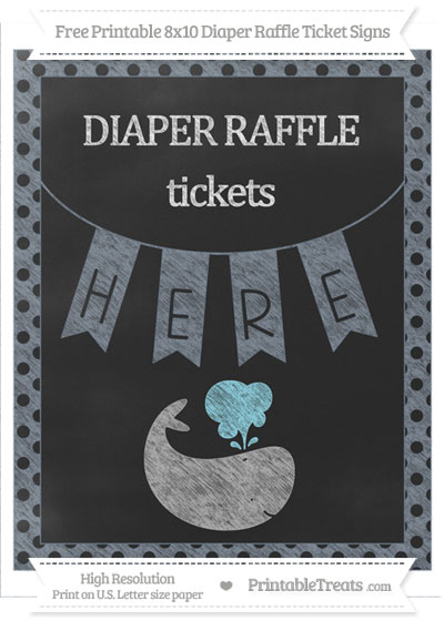 Free Slate Grey Polka Dot Chalk Style Whale 8x10 Diaper Raffle Ticket Sign