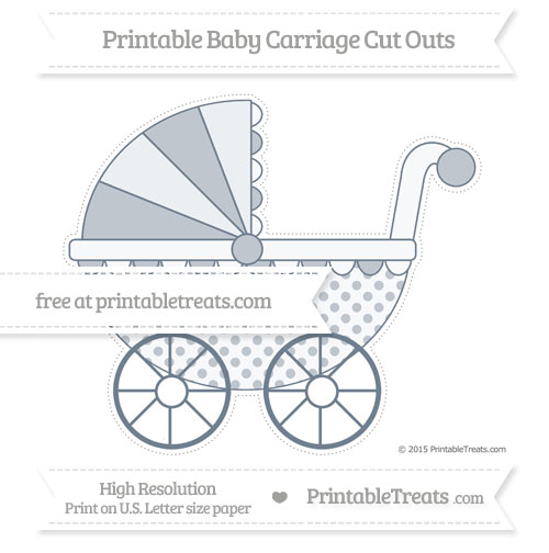 Free Slate Grey Polka Dot Extra Large Baby Carriage Cut Outs