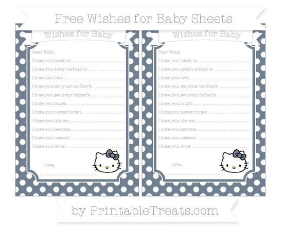 Free Slate Grey Polka Dot Hello Kitty Wishes for Baby Sheets