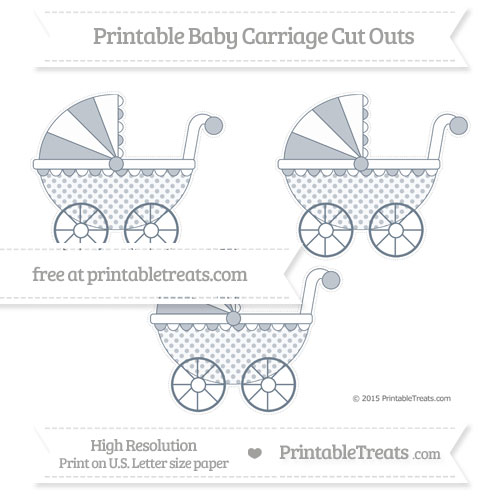 Free Slate Grey Polka Dot Medium Baby Carriage Cut Outs