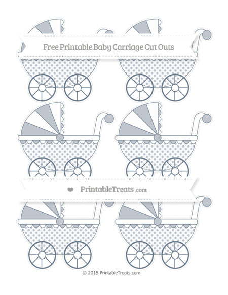 Free Slate Grey Polka Dot Small Baby Carriage Cut Outs