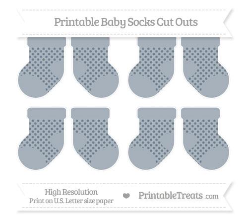 Free Slate Grey Polka Dot Small Baby Socks Cut Outs