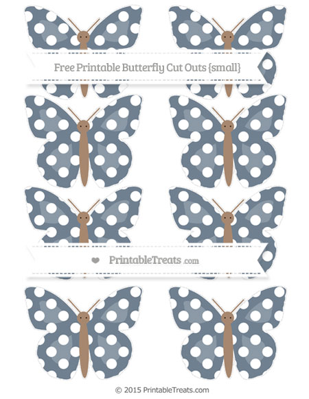 Free Slate Grey Polka Dot Small Butterfly Cut Outs