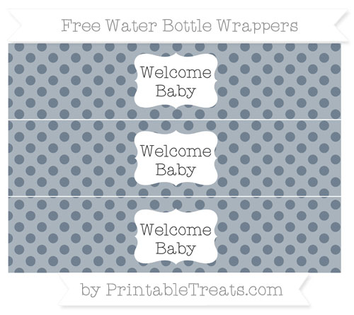 Free Slate Grey Polka Dot Welcome Baby Water Bottle Wrappers