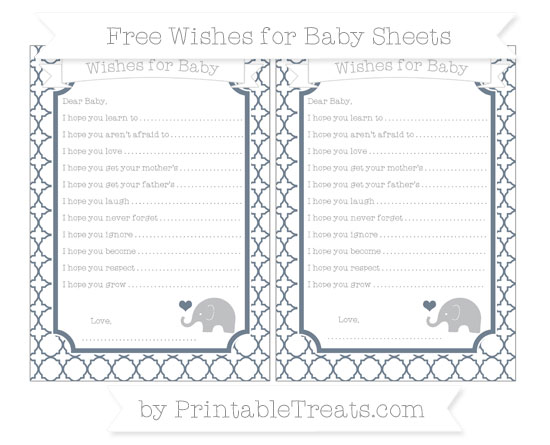 Free Slate Grey Quatrefoil Pattern Baby Elephant Wishes for Baby Sheets