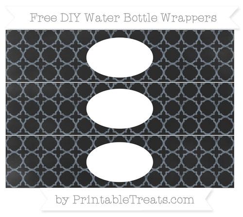 Free Slate Grey Quatrefoil Pattern Chalk Style DIY Water Bottle Wrappers