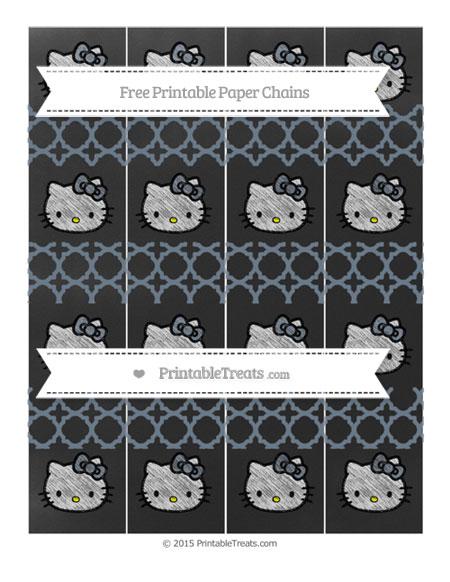 Free Slate Grey Quatrefoil Pattern Chalk Style Hello Kitty Paper Chains