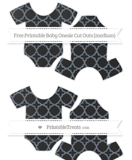 Free Slate Grey Quatrefoil Pattern Chalk Style Medium Baby Onesie Cut Outs