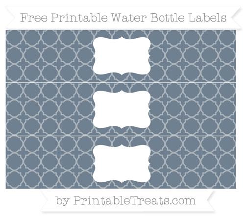 Free Slate Grey Quatrefoil Pattern Water Bottle Labels