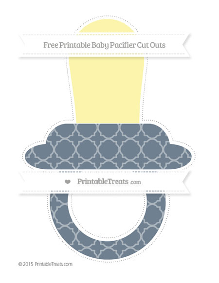 Free Slate Grey Quatrefoil Pattern Extra Large Baby Pacifier Cut Outs