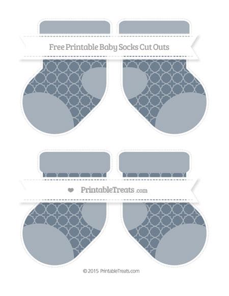 Free Slate Grey Quatrefoil Pattern Medium Baby Socks Cut Outs
