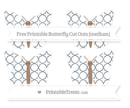 Free Slate Grey Quatrefoil Pattern Medium Butterfly Cut Outs