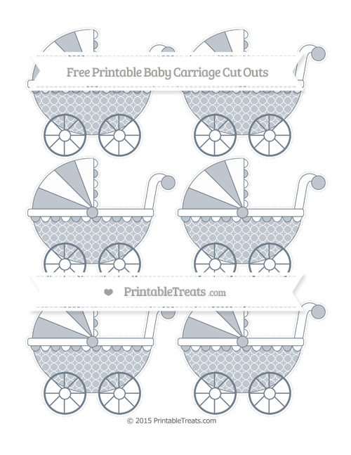 Free Slate Grey Quatrefoil Pattern Small Baby Carriage Cut Outs