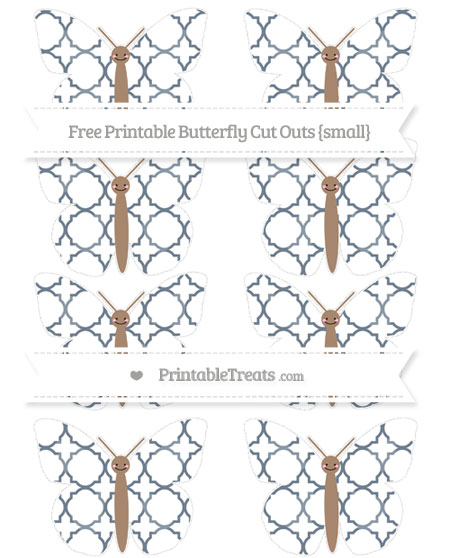 Free Slate Grey Quatrefoil Pattern Small Smiley Butterfly Cut Outs