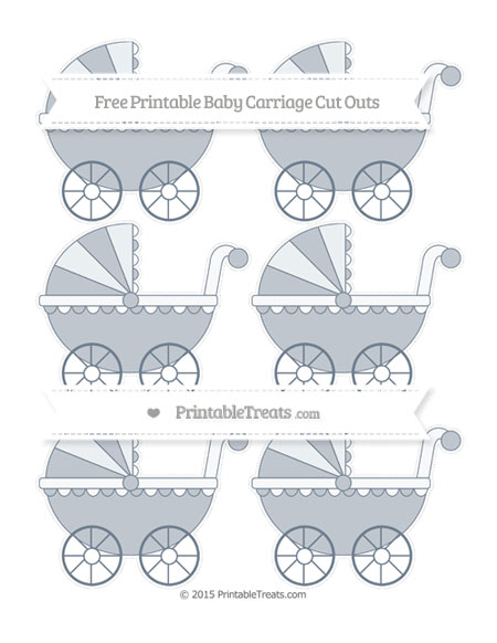 Free Slate Grey Small Baby Carriage Cut Outs