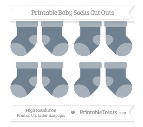 Free Slate Grey Small Baby Socks Cut Outs