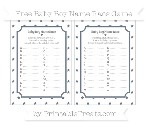 Free Slate Grey Star Pattern Baby Boy Name Race Game