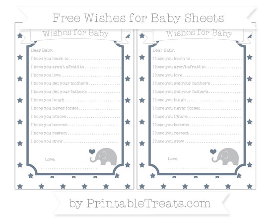 Free Slate Grey Star Pattern Baby Elephant Wishes for Baby Sheets