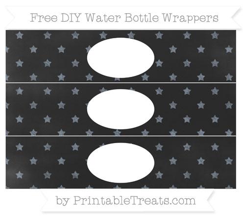 Free Slate Grey Star Pattern Chalk Style DIY Water Bottle Wrappers