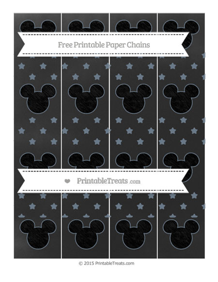 Free Slate Grey Star Pattern Chalk Style Mickey Mouse Paper Chains