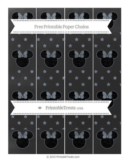 Free Slate Grey Star Pattern Chalk Style Minnie Mouse Paper Chains