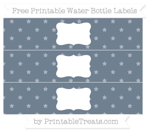 Free Slate Grey Star Pattern Water Bottle Labels