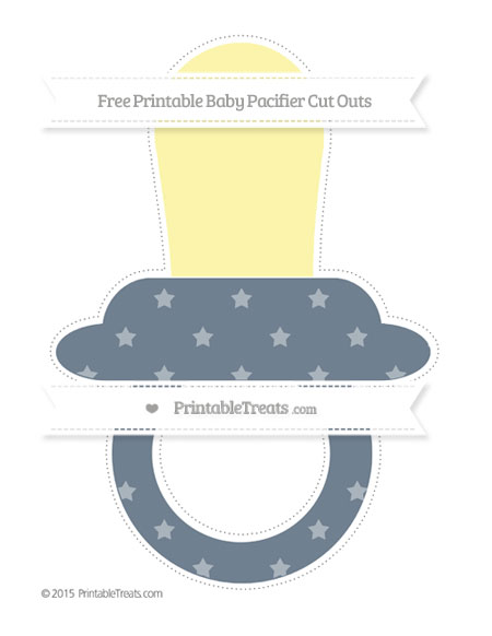 Free Slate Grey Star Pattern Extra Large Baby Pacifier Cut Outs