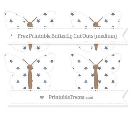 Free Slate Grey Star Pattern Medium Butterfly Cut Outs