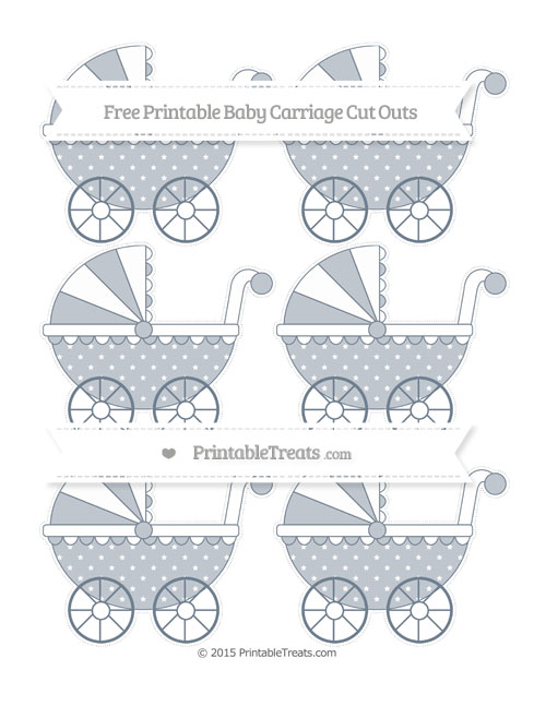 Free Slate Grey Star Pattern Small Baby Carriage Cut Outs