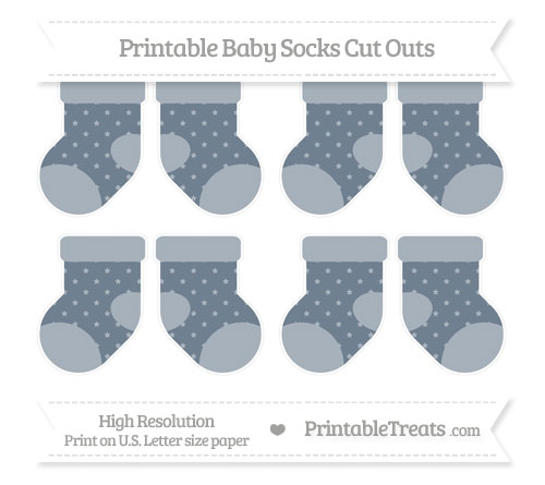 Free Slate Grey Star Pattern Small Baby Socks Cut Outs