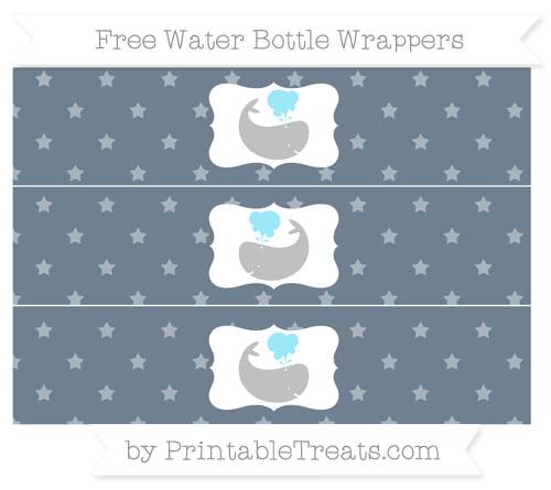 Free Slate Grey Star Pattern Whale Water Bottle Wrappers