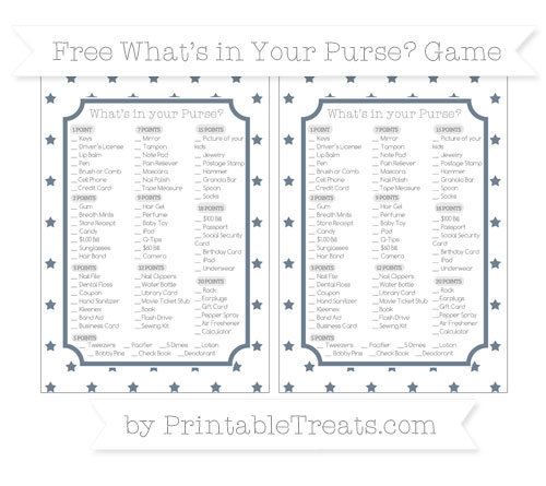 Free Slate Grey Star Pattern What's in Your Purse Baby Shower Game