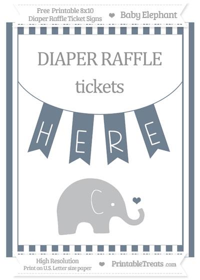 Free Slate Grey Striped Baby Elephant 8x10 Diaper Raffle Ticket Sign