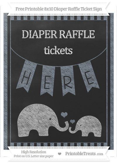 Free Slate Grey Striped Chalk Style Elephant 8x10 Diaper Raffle Ticket Sign