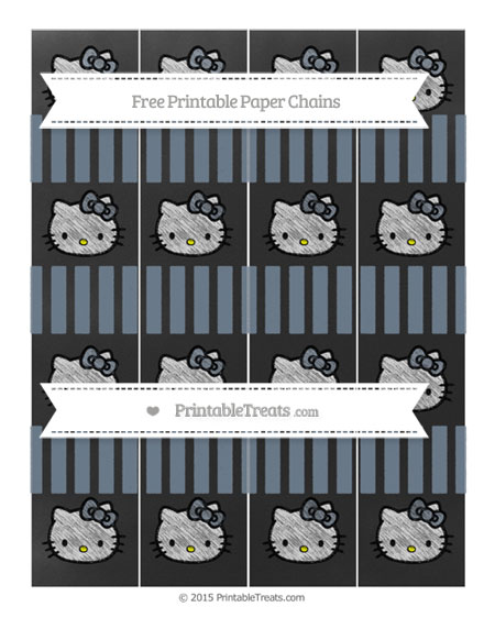 Free Slate Grey Striped Chalk Style Hello Kitty Paper Chains