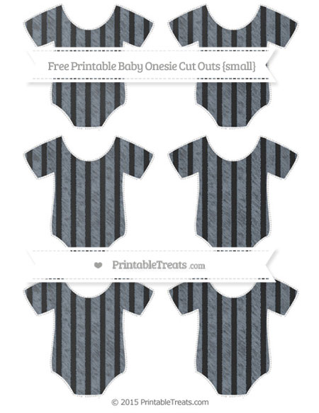 Free Slate Grey Striped Chalk Style Small Baby Onesie Cut Outs
