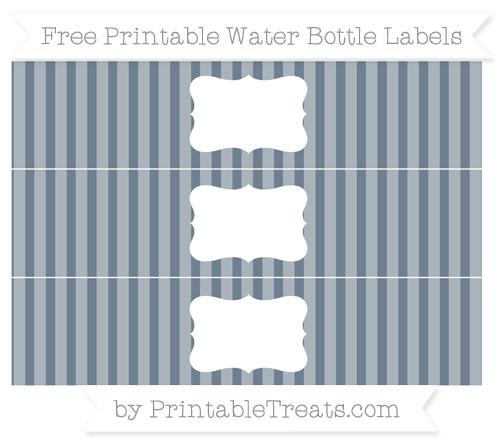 Free Slate Grey Striped Water Bottle Labels