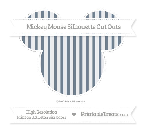 Free Slate Grey Striped Extra Large Mickey Mouse Silhouette Cut Outs