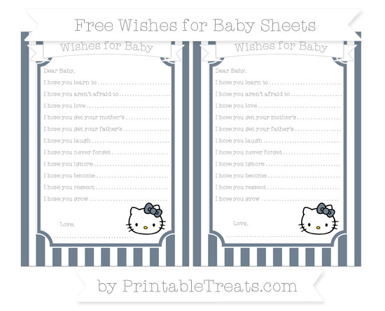 Free Slate Grey Striped Hello Kitty Wishes for Baby Sheets