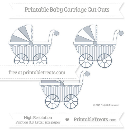 Free Slate Grey Striped Medium Baby Carriage Cut Outs