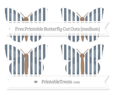 Free Slate Grey Striped Medium Butterfly Cut Outs